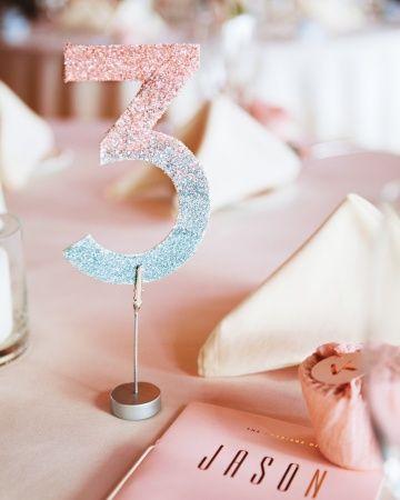 Ombre glittering numbers make reception tables feel extra festive marthastewartweddings.com