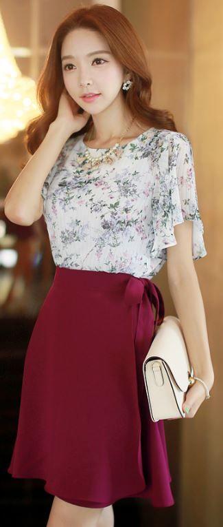 StyleOnme_Ribbon Waist Tie Flared Wrap Skirt #wrap #skirt #elegant #summer…