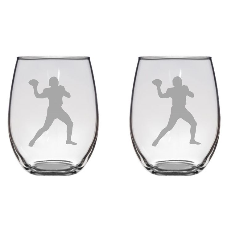 Football Player Engraved Glass, Gift