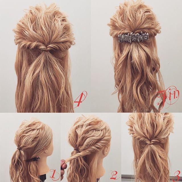 簡単手抜きハーフアップアレンジ✨ 1,後ろをハーフアップの要領で結びます 2,横をツイストで後ろにもってきます(反対側も同じ) 3,1番と2番を一緒に結びます 4,結ぶと写真のようになります Fin,崩したら完成です。 参考になれば嬉しいです^ ^  #ヘア#hair#ヘアスタイル#hairstyle#サロンモデル#サロンモデル撮影#サロンモデル募集#撮影#UP#編み込み#三つ編み#フィッシュボーン#ロープ編み #アレンジ #結婚式 #SET#ヘアアレンジ#アレンジ動画#グラデーションカラー#アレンジ解説#香川県#高松市#美容室#美容院#美容師#berry