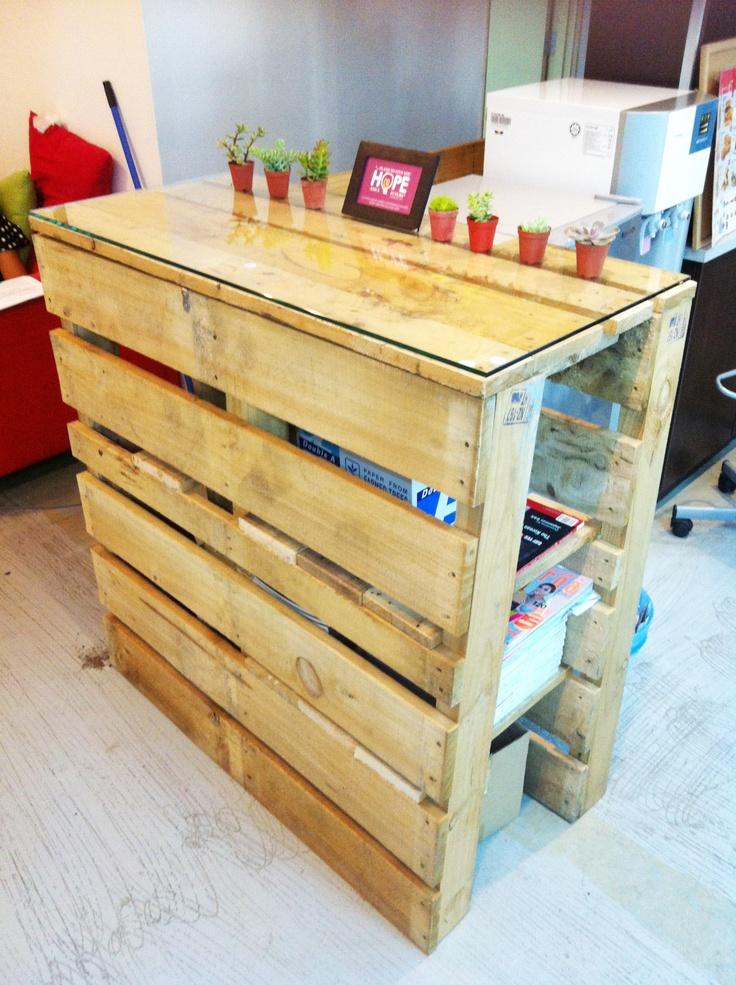 Pallet shelve at Joescher+Adhaus. Designed & Built by Design Director, Teh Chan Thye.