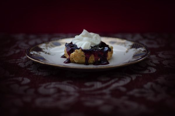 """White Chocolate Scone with Bloodberry Jam"" - lightjet photograph by Jonathan Cameron"