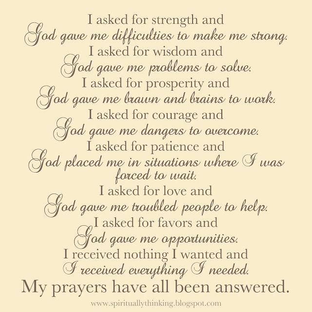 prayers for strength and comfort | and Spiritually Speaking: My Prayers Have All Been Answered: