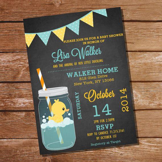 Mason Jar Rubber Duck Baby Shower Invitation by SunshineParties, $5.00