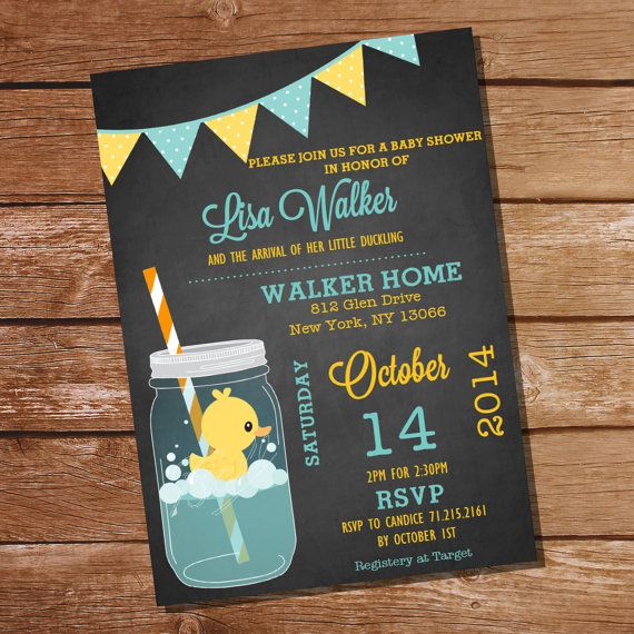 Mason Jar Rubber Duck Baby Shower Invitation by SunshineParties, $5.00