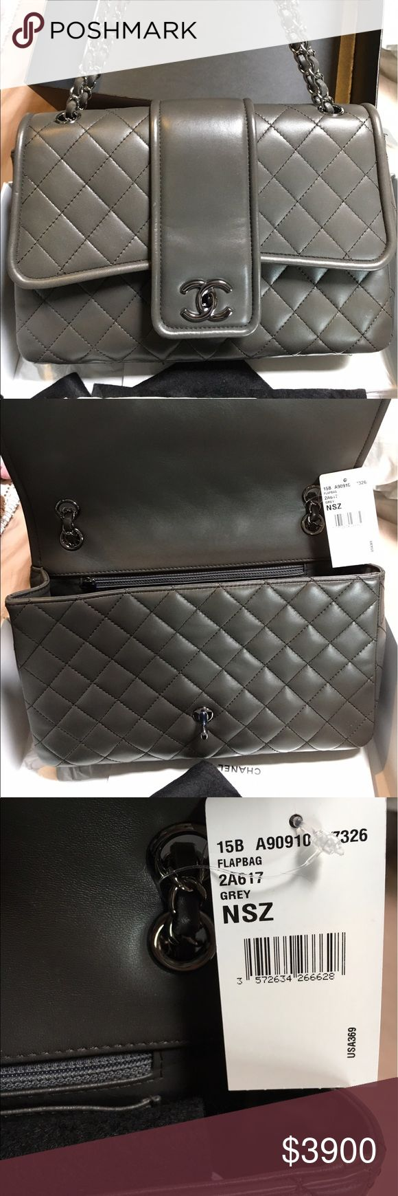 Chanel Flap bag. Never used Brand new with tags grey Chanel Flap bag. Never used. Comes with box, bag, authenticity card, and receipt. Bought from Chanel at Saks in St Louis. Price is firm. CHANEL Bags
