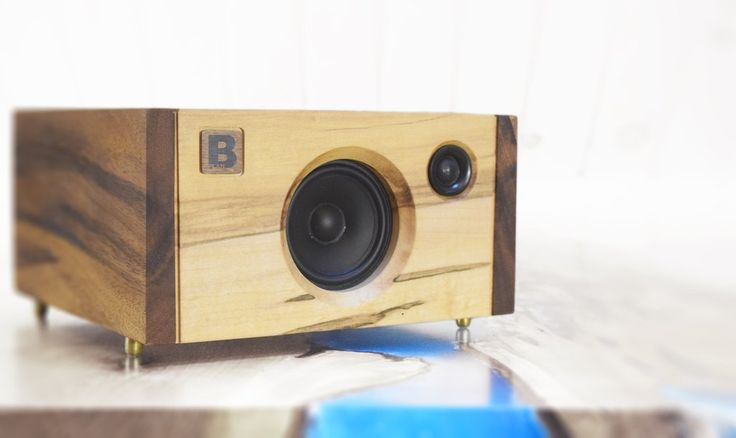 Model 3C is a powerful handmade high-end Bluetooth audio system.  Made of tiger wood and rustic maple. 120 watts of audio power. By PlanB Audio