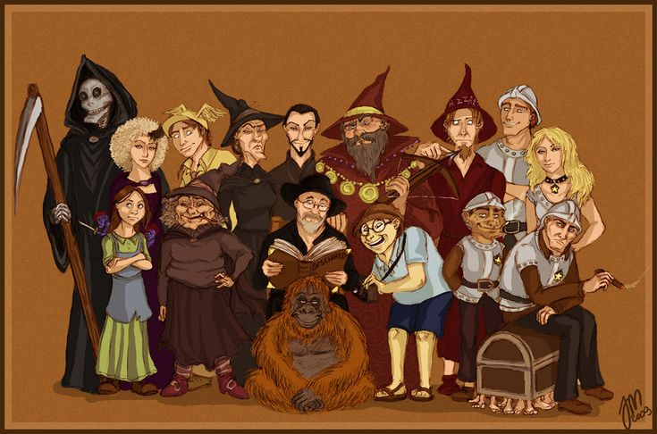Let me see:  Back: Death, Susan, I-don't-know-who, Granny Weatherwax, the Patrician, Ridcully, Rincewind, Carrot, Angua. Front: Tiffany and Nac Mac Feegle, Nanny Ogg, Pratchett and the Librarian, I-don't-remember-who, (could it be) Nobby (?), Vimes who is sitting on the Luggage.  Great artwork!
