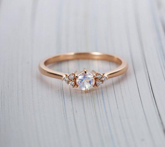 Vintage Moonstone Engagement Ring Art Deco Rose Gold Diamond Etsy Moonstone Engagement Ring Rose Gold Rose Engagement Ring Moonstone Engagement Ring