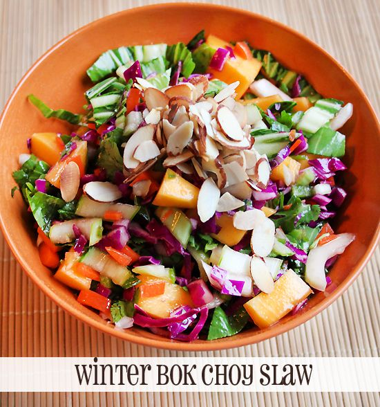 WINTER BOK CHOY SLAW: 3 Cps thinly sliced baby bok choy,  1 Cup grated carrot,  1 Cup sliced purple cabbage,  1-2 ripe mango diced.  1/2 small jalapeño seeded & finely chopped, 1/2 cup chopped cilantro,  2 T fresh lime juice,   1 T agave nectar or honey,  2 tsp. toasted sesame oil,  (This has a very strong flavor, don't overdo it)   1 tsp. low-sodium tamari,  1/2 cup toasted almonds, chopped.  Add chicken if you want a more substantial meal.