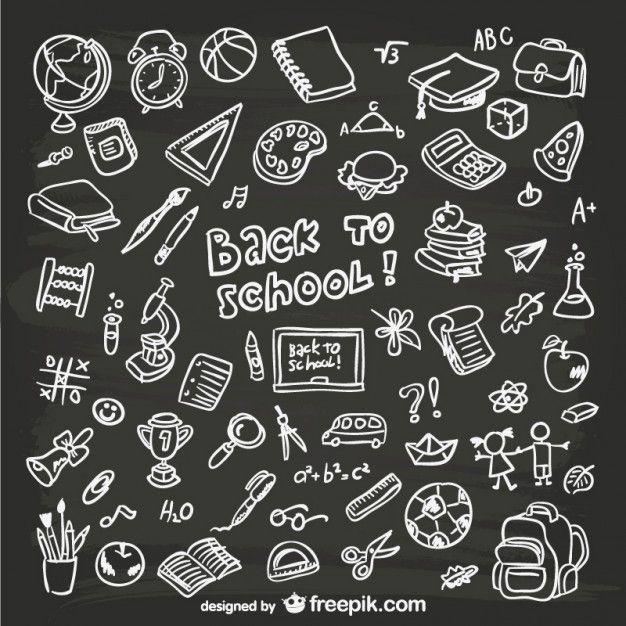 Hand-drawn school graphics #chalkbox #blackboard #vector