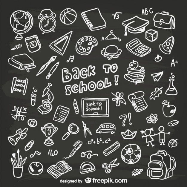 Hand-drawn school graphics #chalkbox #blackboard #vector