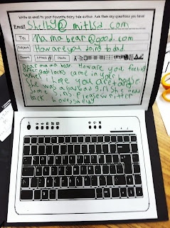 "Cool! Send an ""email"" to a book character. This pix depicts a first grader's work. However, I love this concept for big kids. I would assign a series of emails back and forth. Great idea!"
