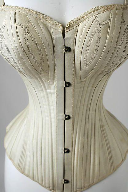 Corset Date: 1890s Culture: American Medium: cotton, boning, metal