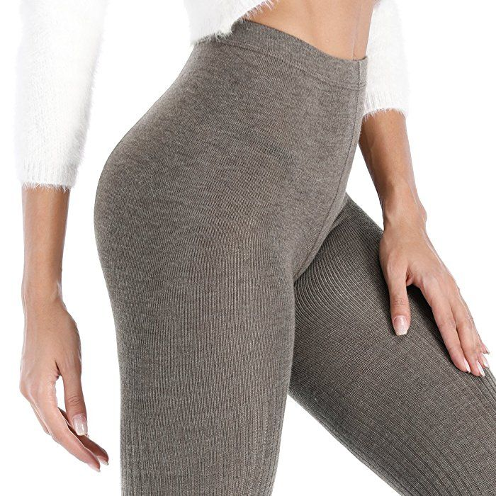 NIOFEI 2 Pack Women's Winter Leggings Warm Opaque Elastic Fleece Lined Top Tights (Black+Brown) at Amazon Women's Clothing store:
