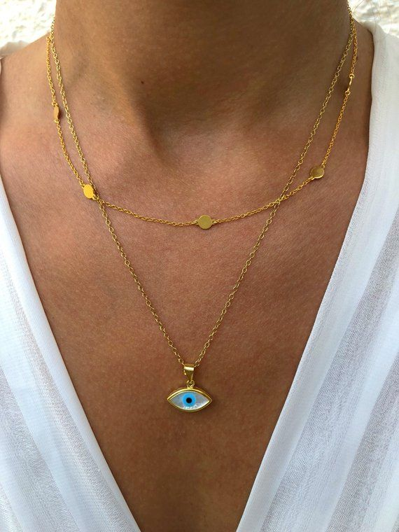 Gold Coin Necklace Layering Necklace Evil Eye Necklace Lucky Charm Necklace