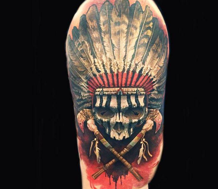 Indian Skull tattoo by Steve Butcher