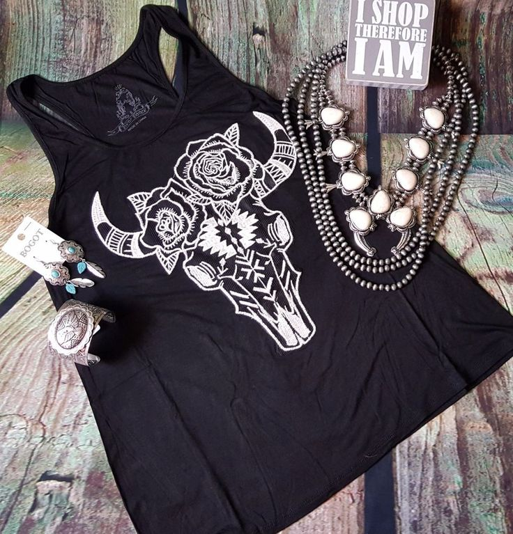 COWGIRL gypsy BUFFALO BULL SKULL AZTEC BOHO Tank Top Black  Shirt Western SMALL | Clothing, Shoes & Accessories, Women's Clothing, Tops & Blouses | eBay!