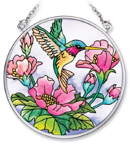 Amia 7257 Hand Painted Glass Suncatcher with Hummingbird Design, 3-1/2-Inch Circle by Amia. $18.24. Handpainted glass. Includes chain. Comes boxed, makes for a great gift. Amia glass is a top selling line of handpainted glass decor. Known for tying in rich colors and excellent designs, Amia has a full line of handpainted glass pieces to satisfy your decor needs. Items in the line range from suncatchers, window decor panels, vases, votives and much more.