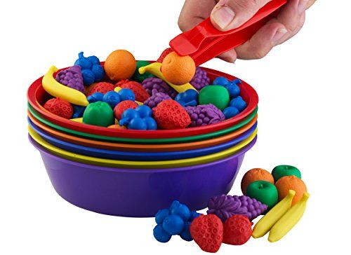 A Sorting Toy With A Crate Fruit Tweezers And Colorful