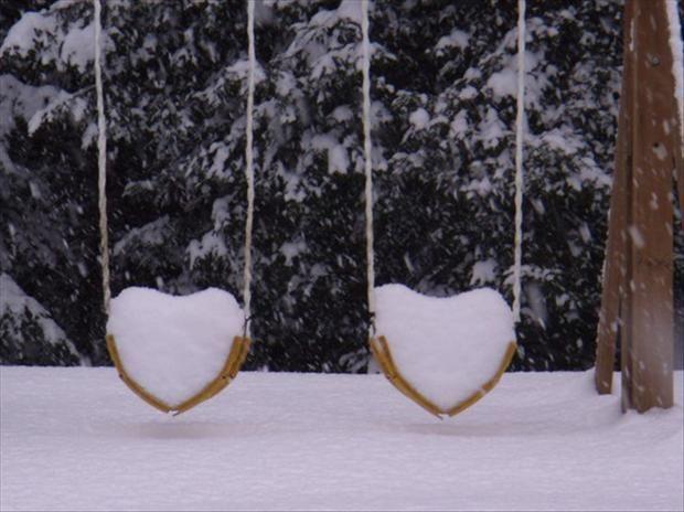 snow shaped like hearts, winter wonderland