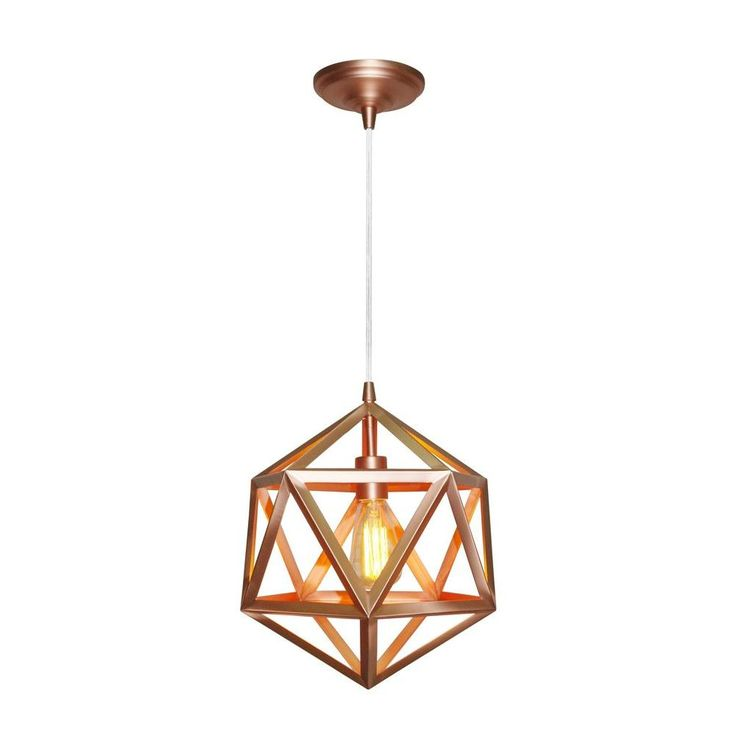 worth home products 1light copper pendant light kit with wire cage shadepkw