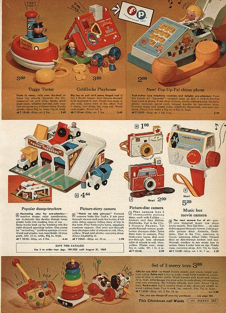 Fisher Price Toys in Montgomery Ward Christmas Catalog, 1968, by Wishbook, via Flickr.  We had the phone, camera, stacking rings & dog.