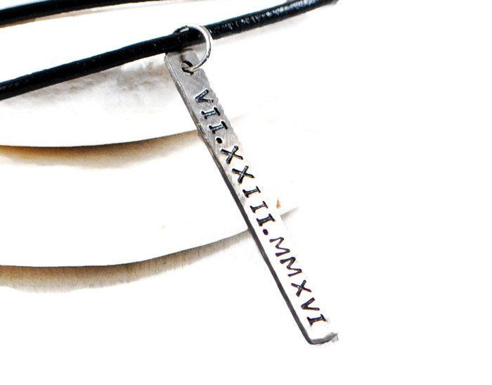 Personalized Vertical Sterling Silver Tag Necklace.