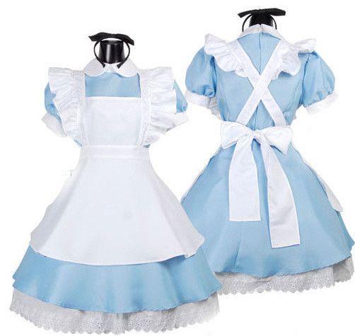 Venda quente Alice no país das maravilhas traje servo Fantasia de empregada Cosplay carnaval Halloween trajes Fantasias Femininas