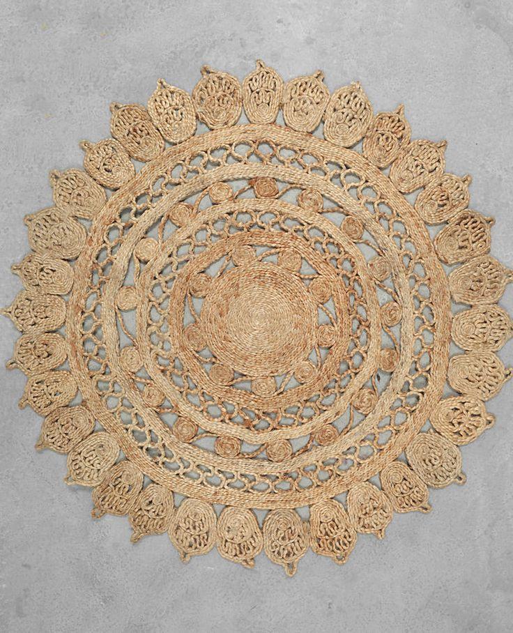Juteteppich mit Mandala Beige