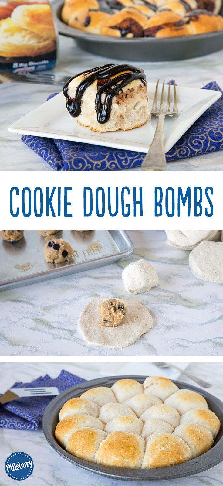 What do you call a warm flaky biscuit with an ooey gooey cookie dough center? Heaven. Don't forget to to drizzle chocolate sauce on top of these Cookie Dough Bombs.