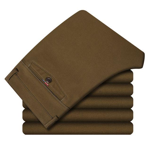 Casual de negocios 98% Algodón Recta Plus Cachemira Elegante Traje de Marca Pantalones de Algodón Ropa de Trabajo Formales Para Hombre Pantalones de Color Caqui Y Negro
