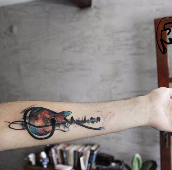 Watercolor guitar tattoo by Tayfun Bezgin