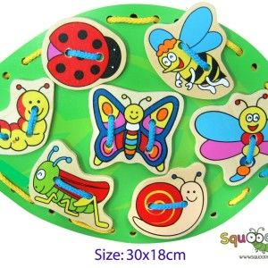 Lacing is an excellent activity for developing fine motor skills, improving hand-eye coordination and concentration, and keeping little kids happily amused.     They entertain curious minds while sneaking in useful lessons. RRP $12.00 each http://squoodles.co.nz/products/wooden-lacing-insects-wooden-toys-for-kids/