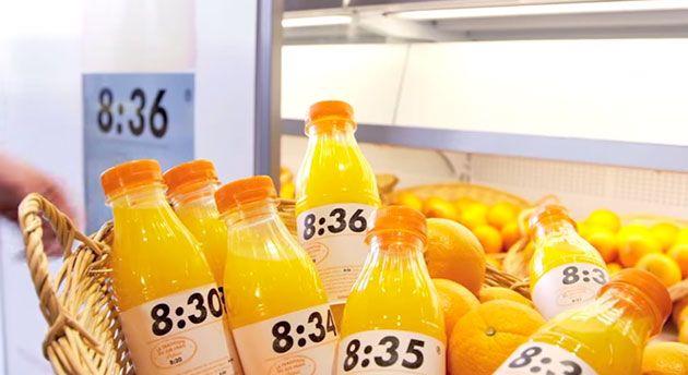 ラベルに製造時間を印字することで新鮮さをアピールした「The freshest fresh orange juice brand」