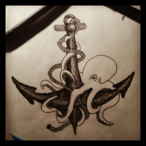 Anchor Octopus Drawing And Anchor Drawing Octopus