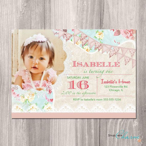 Best Styles With Charm Invitations Images On Pinterest - Vintage girl birthday invitation