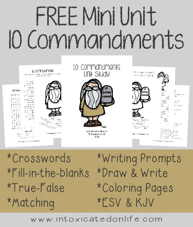 FREE 10 Commandments Mini Unit from Intoxicated on Life this post contains affiliate links From the site: This 75+ page unit includes activities that will get your kids excited about learning God's Word. I have had so much fun creating them and I hope you kids enjoy them. Several of the activities have multiple levels for…