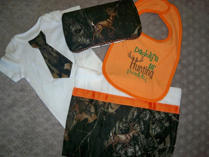 """4 Piece Camo Baby: Deer Wipe Case, Deer Burp Cloth, Tie Onesie, and """"Daddy's lil' Hunting Buddy"""" bib - Perfect for the Little Hunter. $32.50, via Etsy."""