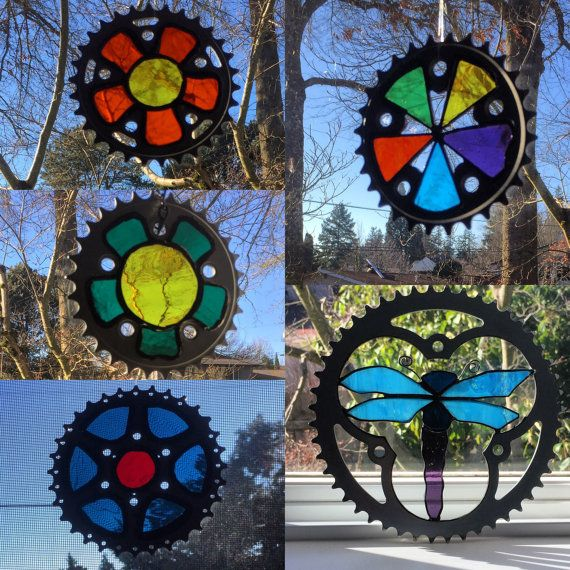 UpCycled Chain Ring/Cassette Suncatchers - Handmade into Stained Glass Art. All locally purchased Stained Glass, Hand cut, ground, copper foil,