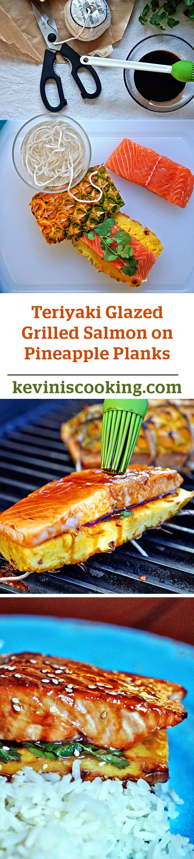 Teriyaki Glazed Grilled Salmon on Pineapple Planks - A simple and quick meal made in mere minutes. Each salmon filet lays on cilantro and is basted with teriyaki sauce before getting sandwiched between to pineapple planks. Grill to desired doneness and served with caramelized pineapple and steamed rice.