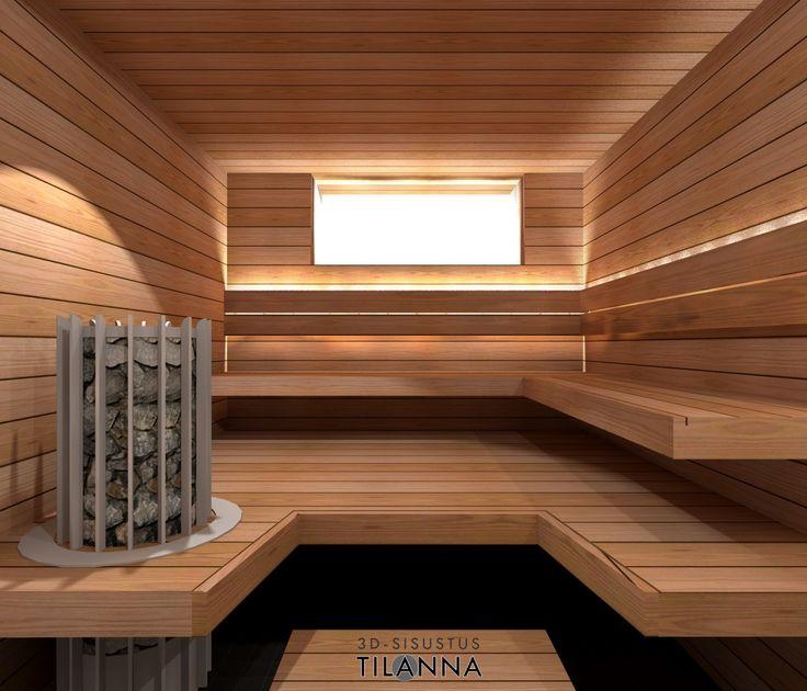 3D-sisustussuunnittelu / sauna, L-malliset lauteet, lämpökäsitelty 125mm leveä haapa seinässä ja 160mm lauteissa, kuituvalaistus epäsuorasti selkänojan takana, kiukaan päällä kohdevalo/ 3D-sisustus Tilanna, sisustussuunnittelija