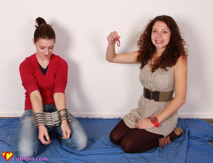 Woman Wears Half A Dozen Handcuffs Lips Or Hagge While -2097