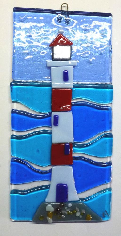 ORIGINAL FUSED GLASS ART PICTURE LIGHTHOUSE £12.95