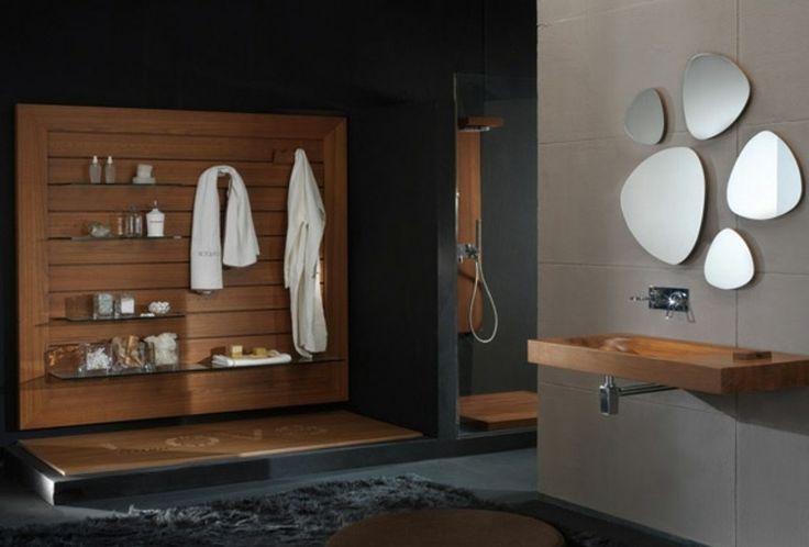 mobilier de salle de bain en bois lavabo miroir original