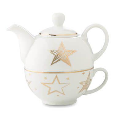 Ceainic ceramica decorat cu motive de Craciun. Set #promotional pentru #ceai format din #ceainic din ceramica cu capacitatea de 400ml, decorat cu motiv stele aurii si #ceasca ceramica 260 ml. Setul vine ambalat intr-o cutie eleganta de cadouri si poate fi oferit cadou partenerilor sau colaboratorilor dvs. in prag de Craciun.