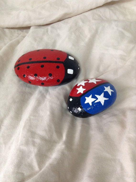Hand painted ladybug garden rocks with special edition LadyUSABug. Ladybug decor. Patriotic decor. Garden decor. Fourth of July decor.