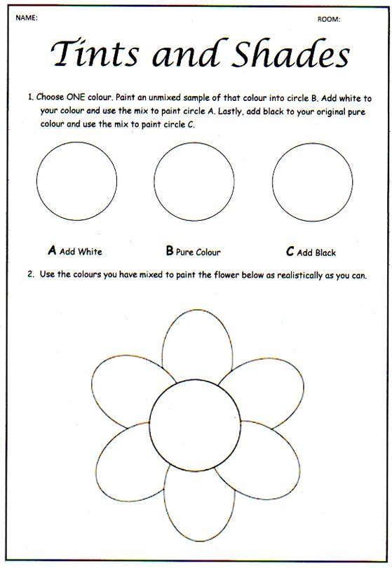 Once upon an Art Room: Tinting and Shading- skills worksheet