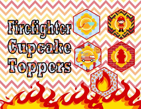 Firefighter Cupcake Toppers INSTANT DOWNLOAD by ATimeToRememberDPK