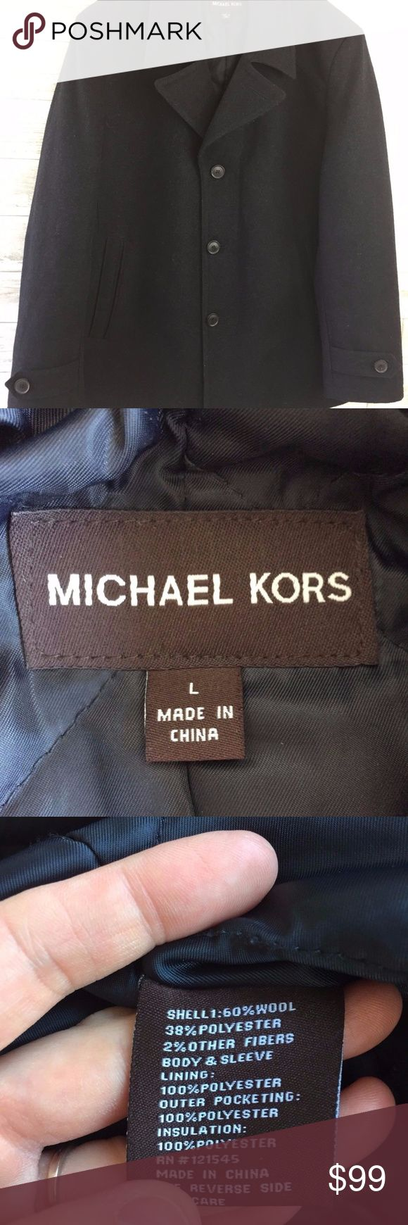 """Michael Kors Large Coat Jacket Charcoal Gray Wool Michael Kors Large Coat Jacket Charcoal Gray Wool Lined Blend Mens No flaws  25.5"""" Pit to pit 32"""" Length 20"""" Shoulder  27"""" Sleeve No flaws Michael Kors Jackets & Coats Pea Coats"""